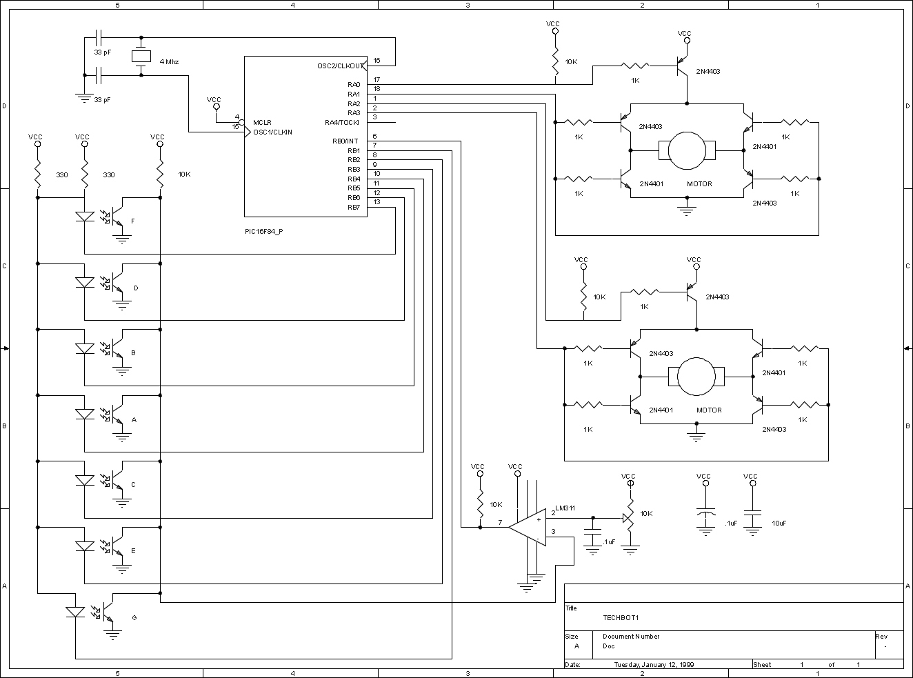 Robots 2 Transistor Line Follower Robot Click For Schematic